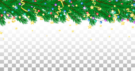 Fir branch, garland, streamers and stars. Holiday border, transparent background Vector