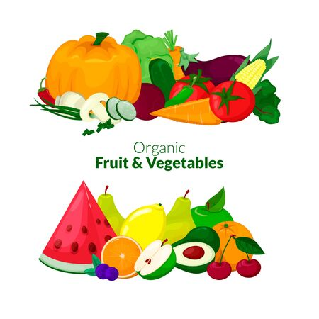 Fresh organic fruit and vegetables composition. Vector