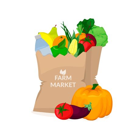 Paper bag with fresh fruit and vegetables. Illustration