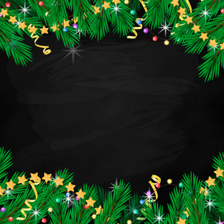 Fir branch, garland, streamers and stars. Holiday banner on chalk board. Cartonn style vector Illustration