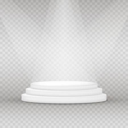 Round pedestal for display. Realistic illuminated platform for design. Winner podium. Vector illustration