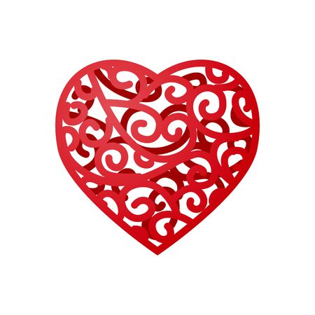 Red lace heart with curl. Isolated on white background. Vector illustration
