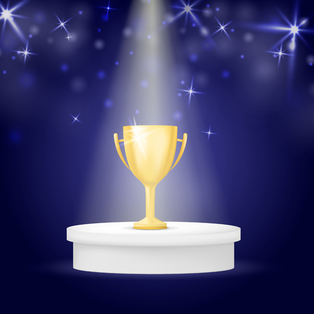 Realistic gold winners cup with light and star. Trophy on dark blue background. Vector illustration