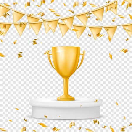 Realistic gold winners cup with flag, confetti and serpentine. Trophy. Isolated on transparent background. Vector illustration Illustration