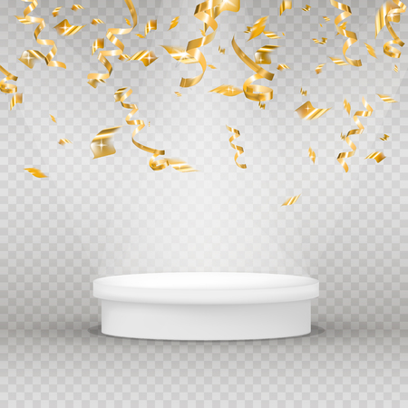 Realistic illuminated platform with gold serpentine, confetti and shine. Round pedestal for display. Winner podium. Vector illustration