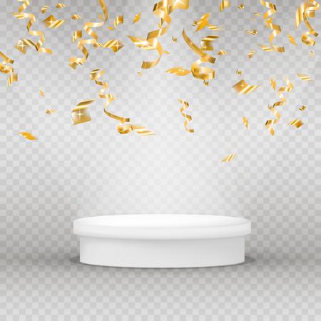 Realistic illuminated platform with gold serpentine, confetti and shine. Round pedestal for display. Winner podium. Vector illustration