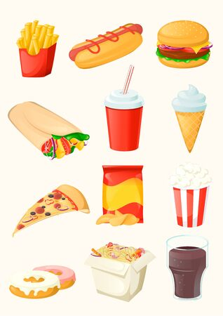 Set of fast food icon. Isolated. Cartoon vector illustration