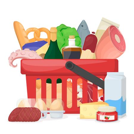 Panier plein de produits frais, sains et naturels. Magasin d'alimentation, supermarché. Illustration vectorielle