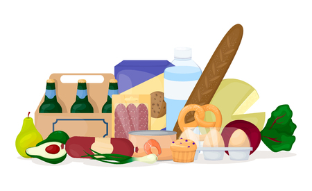 Set of food. Different product pile. Grocery. Beer, egg, vegetables, water cheese Cartoon vector illustration Illustration