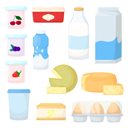 Set of milk product. Cheese, egg, butter and yogurt. Cartoon vector illustration