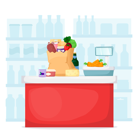 Full shopping paper bag with purchases near checkout counter. Food store, supermarket interior. Set of fresh, healthy and natural product. Vector illustration