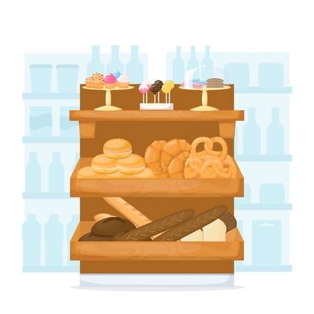 Set of flour product on supermarket shelves. Food store interior. Backery. Bread, baguette, cake, muffin, cakepops and bun. Cartoon vector illustration