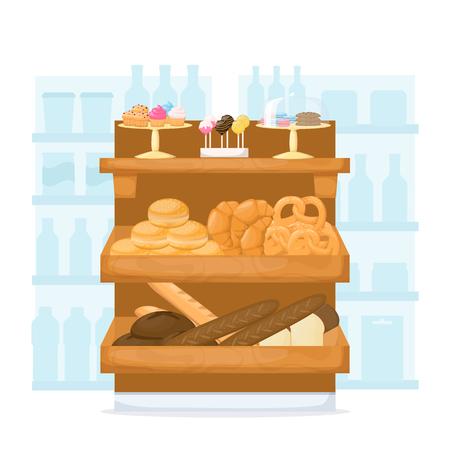 Set of flour product on supermarket shelves. Food store interior. Backery. Bread, baguette, cake, muffin, cakepops and bun. Cartoon vector illustration