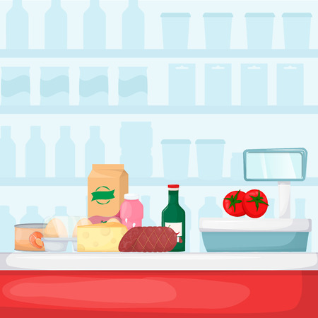 Pile of purchases near checkout counter. Food store, supermarket interior. Set of fresh, healthy and natural product. Vector illustration