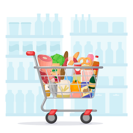 Full shopping cart with supermarket shelves on background. Food store, grocery. Set of fresh, healthy and natural product. Vector illustration