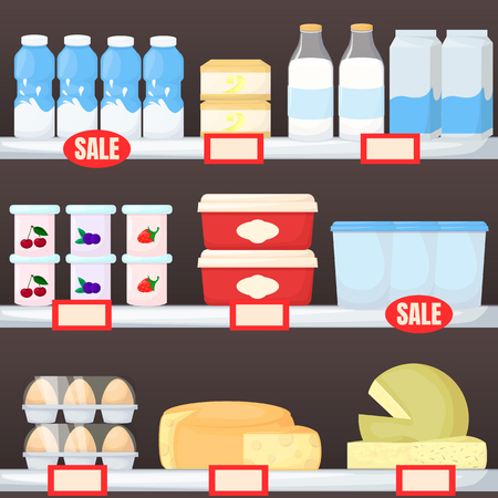 Set of milk product on supermarket shelves. Cheese, egg, butter and yogurt. Cartoon vector illustration