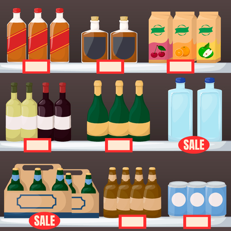 Set of drink and alcohol product on supermarket shelves. Bottle of water, beer, wine, juice. Cartoon vector illustration