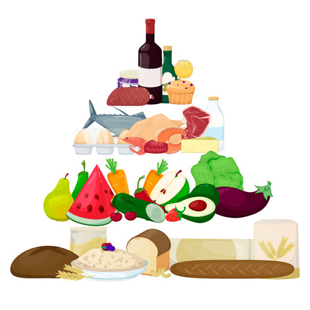 Food pyramid. Healthy eating infografic. product icons. Vector illustration