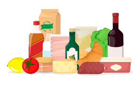 Set of food. Different product pile. Grocery. Cheese, alco, bread Cartoon vector illustration
