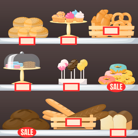 Set of flour product on supermarket shelves. Backery. Bread, baguette, cake, muffin, cakepops and bun. Cartoon vector illustration  イラスト・ベクター素材