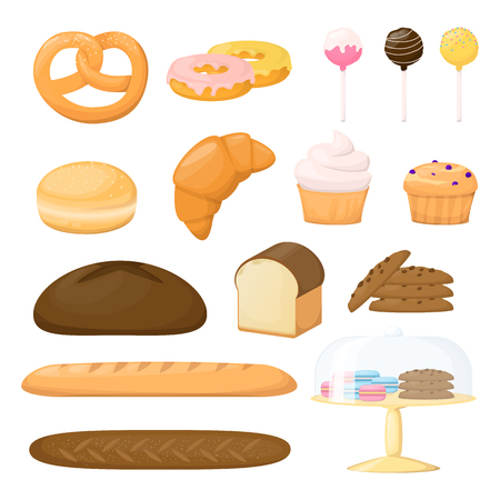 Set of flour product. Backery. Bread, baguette, cake, muffin, cakepops and bun Cartoon vector illustration