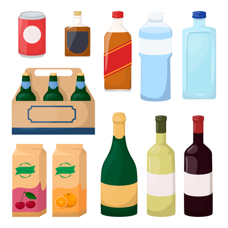 Set of drink and alcohol product. Bottle of water, beer, wine, juice. Cartoon vector illustration Illustration