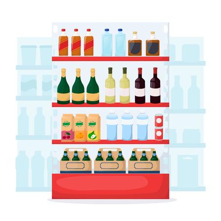 Set of drink and alcohol product on supermarket shelves. Food store interior. Bottle of water, beer, wine, juice. Cartoon vector illustration Illustration