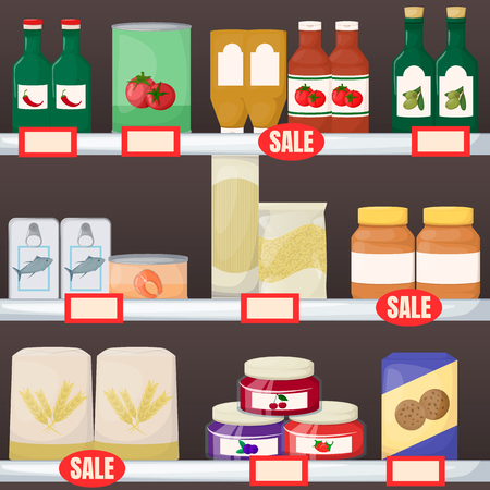 Set of grocery. Product on supermarket shelves. Jam, oil, pasta, flour cookie and canned Cartoon vector illustration Иллюстрация