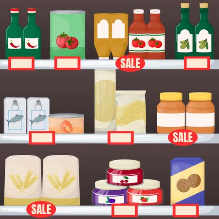 Zestaw spożywczy. Produkt na półkach supermarketów. Dżem, olej, makaron, ciasteczko z mąki i ilustracja kreskówka w puszkach