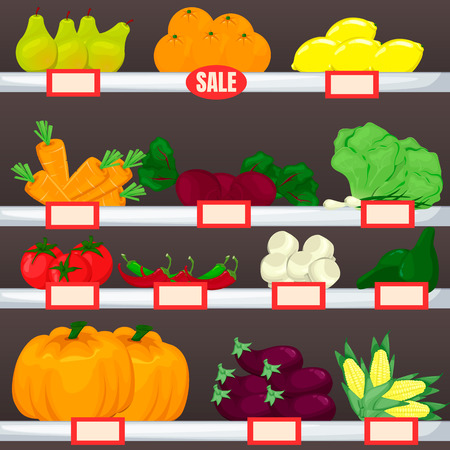 Set of fruit and vegetables on supermarket shelves. Cartoon vector product illustration