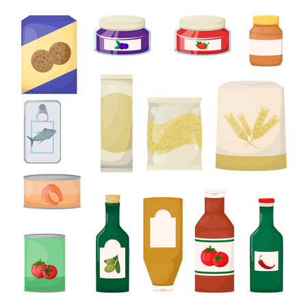 Set of grocery. Product. Jam, oil, pasta, flour cookie and canned Cartoon vector illustration Illustration