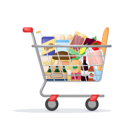 Full shopping cart. Food store, supermarket. Set of fresh, healthy and natural product. Vector illustration  イラスト・ベクター素材