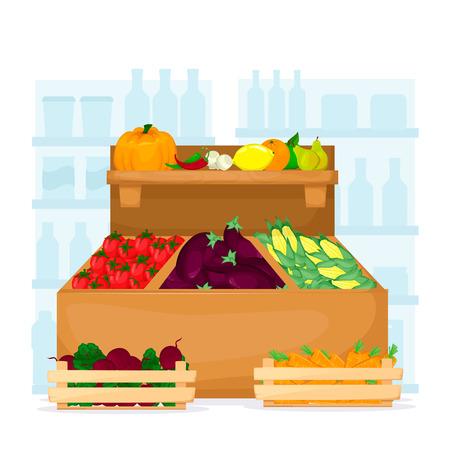 Set of fruit and vegetables on supermarket shelves. Food store interior. Cartoon vector product illustration