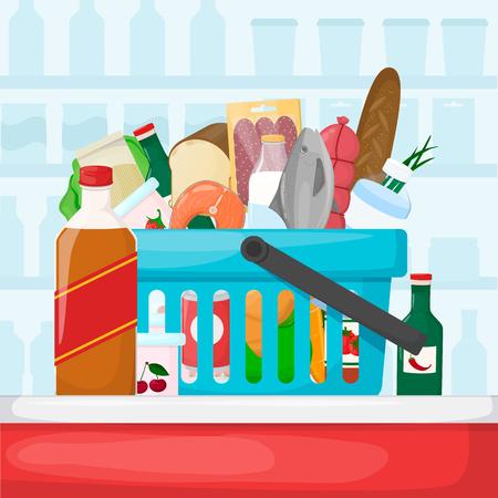 Full shopping basket. Food store, supermarket interior. Set of fresh, healthy and natural product. Vector illustration Illustration
