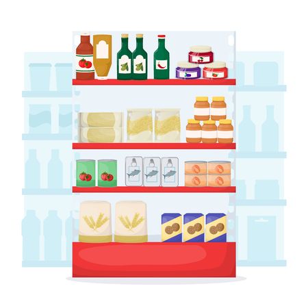 Set of grocery. Product on supermarket shelves. Food store interior. Jam, oil, pasta, flour cookie and canned Cartoon vector illustration Illustration