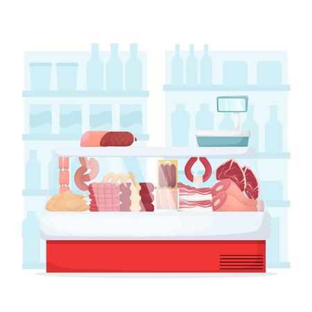 Set of meat product on supermarket fridge. Food store interior Sausege, chiken, bacon, ham and beef. Cartoon vector illustration Illustration