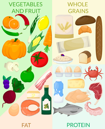 Healthy eating infografic. Food product icons. Diet Vector illustration  イラスト・ベクター素材