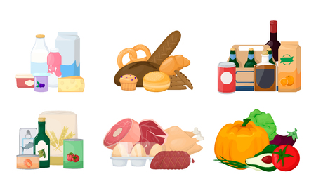 Set pile of food. Different product. Grocery, drinks, milk, fruit and vegetables, meat, fish and sea food. Cartoon vector illustration