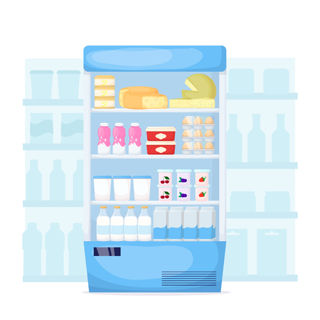 Set of milk product on supermarket fridge. Food store interior Cheese, egg, butter and yogurt. Cartoon vector illustration