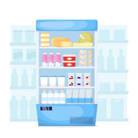 Set of milk product on supermarket fridge. Food store interior Cheese, egg, butter and yogurt. Cartoon vector illustration
