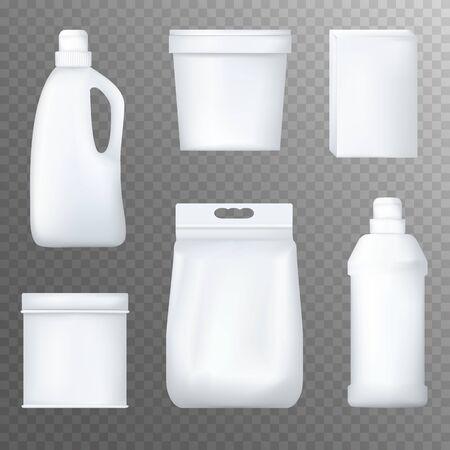 Realistic white plastic bottles