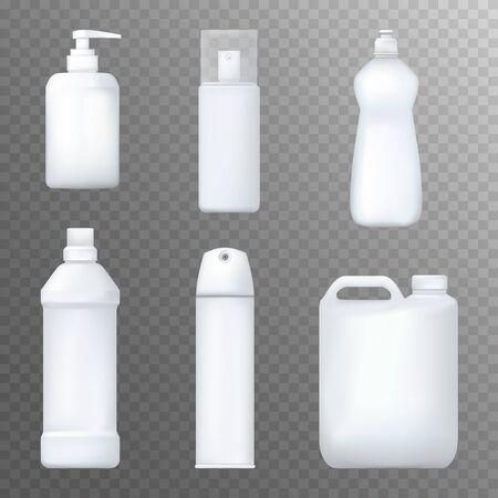 Realistic white plastic bottles.
