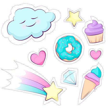 Fashion patches. Set of cute magical sticker rainbow, star, cake, ice cream, cloud.