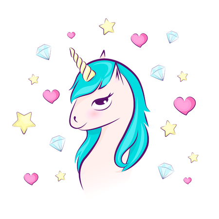 Cute magical unicorn head with heart, diamonds, star. Vector design isolated. Illustration for children. Pink blue purple.