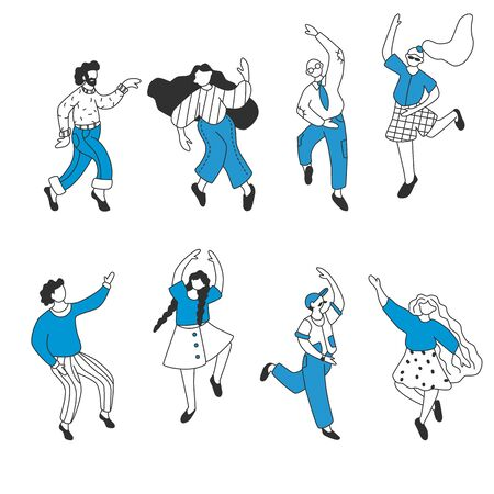 Set of flat happy dancing people. Funny friends dance and jump. Doodle style
