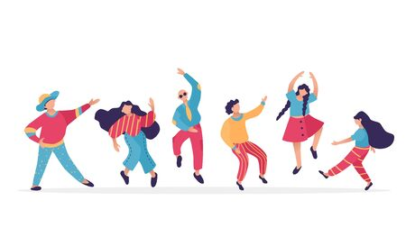 Male and female dancing characters. Set of flat happy people. Funny friends dance and jump. Vector illustration.