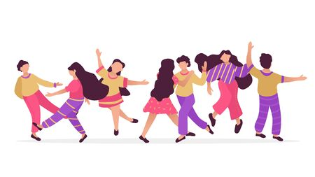 Male and female dancing characters. Set of flat happy people. Funny friends and couple dance and jump. Vector illustration.  イラスト・ベクター素材
