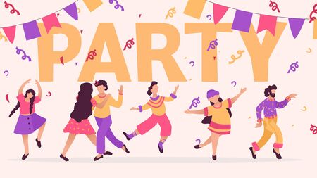 Group of happy dancing people at club. Design template of party banner. Male and female characters. Funny friends dance and jump. Vector illustration.