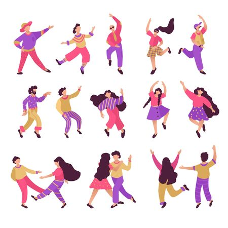 Male and female characters. Big set of flat happy dancing people. Funny friends dance and jump illustration