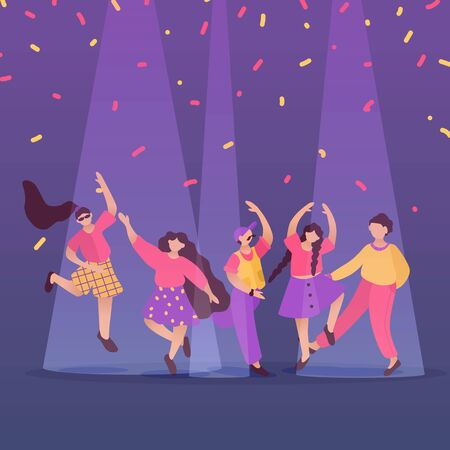 Happy dancing people at club. Male and female characters. Funny friends dance and jump. Vector illustration
